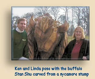 Ken and Linda pose with the Sycamore Buffalo